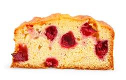 Slice of cherry cake stock photography