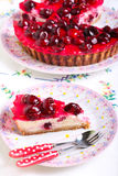 Slice of cherry cheesecake Stock Image