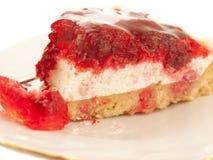 Slice of Cherry flan Cake Stock Photos