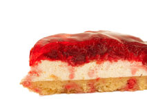 Slice of Cherry flan Cake isolated on white Stock Photography