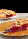 Slice of cherry pie Stock Images