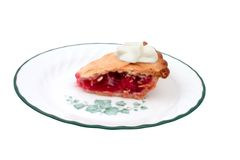 Slice of cherry pie with cream Stock Image