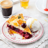 Slice of cherry pie with ice cream Royalty Free Stock Images