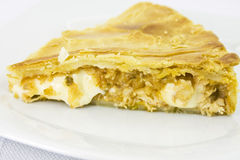 Slice of chicken pie. On plate and fork stock image