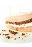 Slice of chocolat mousse cake on white plate Royalty Free Stock Photos