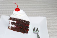 Slice of chocolate black forest cake with a cherry Stock Photography