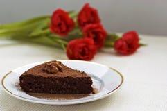 Slice of chocolate cake Stock Image