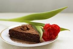 Slice of chocolate cake Stock Photography