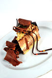 Chocolate cake slice. Delicious chocolate cake on the plate isolated on white background Stock Photo