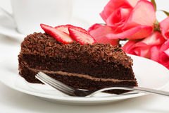 Slice of chocolate cake Royalty Free Stock Photos