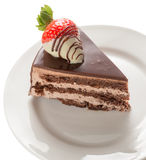 Slice of chocolate cake Royalty Free Stock Photography