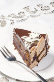 Slice of chocolate cake decorated with white chocolate flakes Stock Images