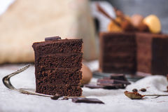 Slice of a chocolate cake Stock Photography