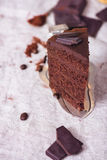 Slice of a chocolate cake Royalty Free Stock Photography