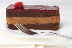 Slice of chocolate cake Stock Image