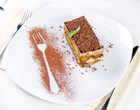 Slice of Chocolate Cake on Plate with Fork Outline Stock Photography