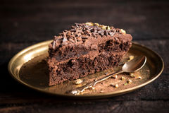 Slice of chocolate cake Royalty Free Stock Images