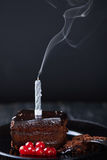 Slice of chocolate cake with a single lit candle. Royalty Free Stock Photos
