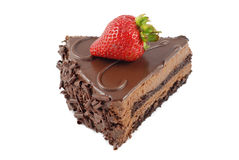 Slice of chocolate cake with strawberry. Isolated on white Royalty Free Stock Images