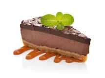 Slice of chocolate cheesecake Stock Photo