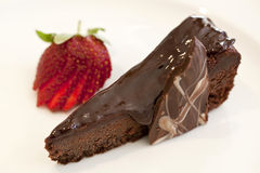 Slice of Chocolate Fudge Cake Stock Image