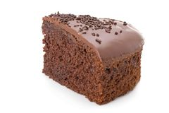 Slice of chocolate fudge cake Stock Photos