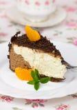 Slice of chocolate and hazelnut cake Royalty Free Stock Photos