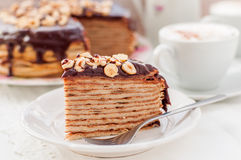 A Slice of Chocolate, Hazelnut and Cottage Cheese Crepe Cake Royalty Free Stock Photos