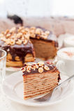 A Slice of Chocolate, Hazelnut and Cottage Cheese Crepe Cake Stock Photo