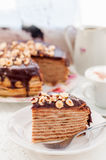 A Slice of Chocolate, Hazelnut and Cottage Cheese Crepe Cake Stock Images