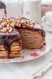 A Slice of Chocolate, Hazelnut and Cottage Cheese Crepe Cake Stock Image