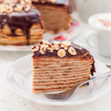 A Slice of Chocolate, Hazelnut and Cottage Cheese Crepe Cake Royalty Free Stock Photography