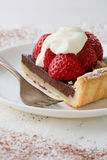 Slice of chocolate pie with berry Stock Photography