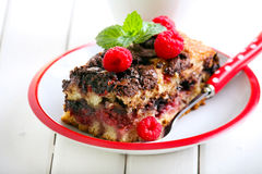 Slice of chocolate and raspberry cake Royalty Free Stock Photography