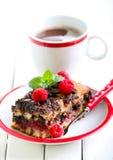 Slice of chocolate and raspberry cake Stock Photo