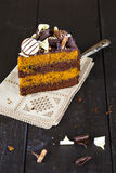 Slice of chocolate and toffee layer cake Stock Photo