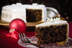 Slice Of Christmas Cake Stock Image