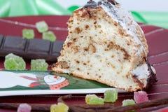 Slice of Christmas cake Stock Photo