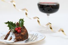 Slice Of Christmas Pudding Stock Photos