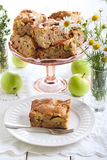Slice of chunky apple cake Stock Images
