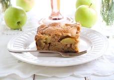 Slice of chunky apple cake Stock Image