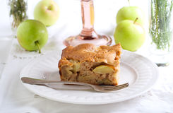 Slice of chunky apple cake Royalty Free Stock Photography