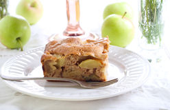 Slice of chunky apple cake Stock Photo