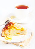 Slice of citrus cheesecake Stock Image