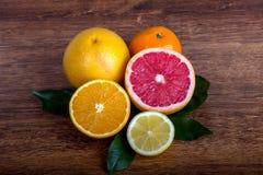 Slice citrus fruit. Citrus fruit  lemon, orange, grapefruit and tangerine with leaves Royalty Free Stock Image