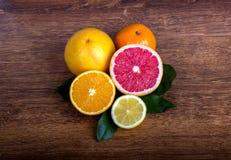 Slice citrus fruit. Citrus fruit  lemon, orange, grapefruit and tangerine with leaves Royalty Free Stock Photography