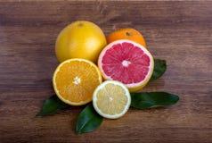 Slice citrus fruit. Citrus fruit  lemon, orange, grapefruit and tangerine with leaves Stock Photo