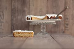 Slice of coconut and orange cake to be decorated as Christmas tree Royalty Free Stock Image