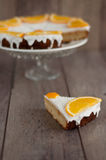 Slice of coconut and orange cake to be decorated as Christmas tree Stock Photos