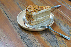 A Slice of Coffee Almond Cake Royalty Free Stock Photo